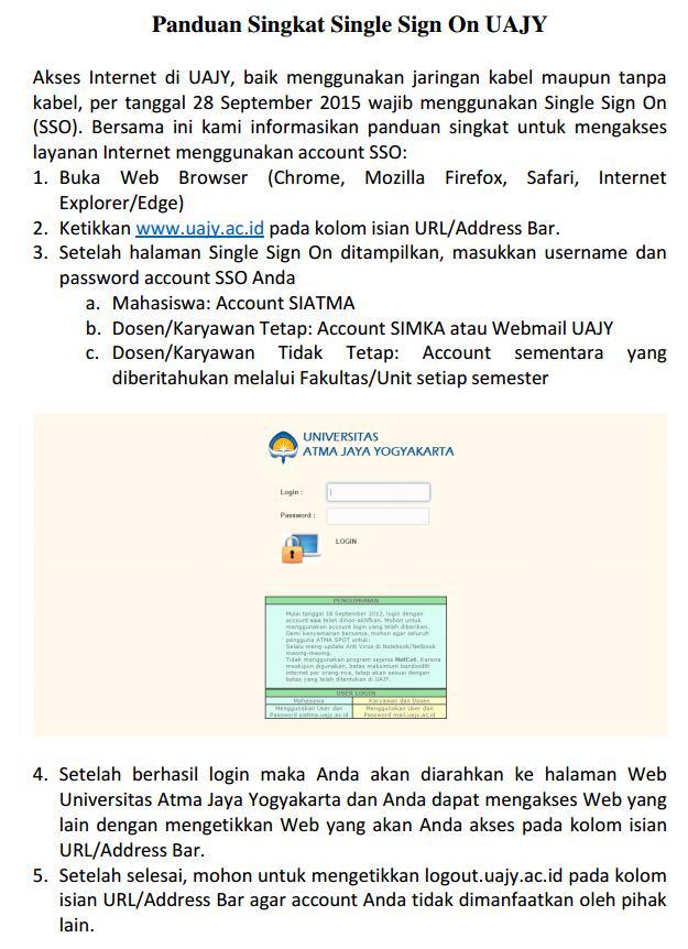 Panduan Penggunaan SSO untuk Akses Internet di UAJY cc: @uajy #fb http://t.co/ZYAGvvsJRP