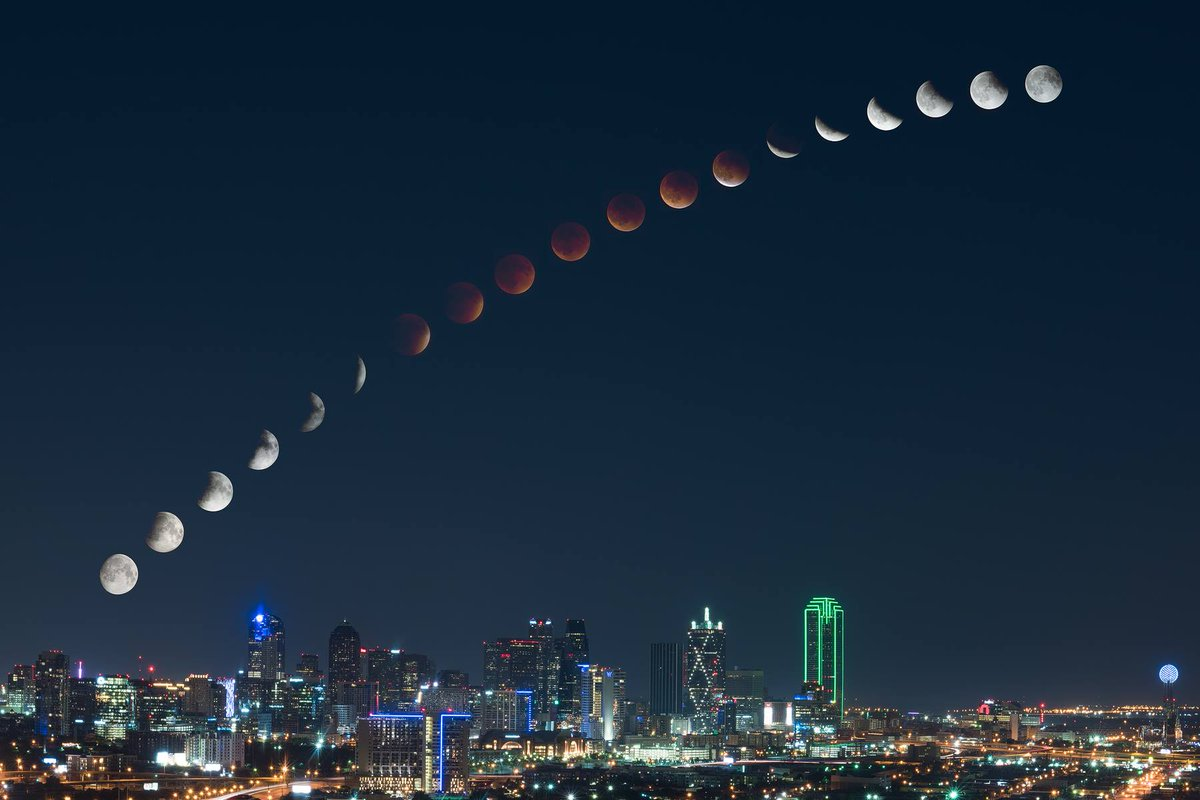 Beautiful composite image showing transition from full moon to full lunar eclipse and back. https://t.co/2noOlk3PZo http://t.co/q2A6Qda3A8