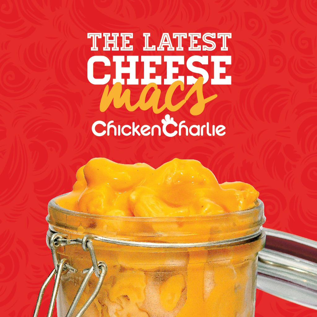 Scoop the latest Cheese Macs at Chicken Charlie Metro Manila and SM Calamba branches for only 35php #VeryLife http://t.co/1o4Zlmz574