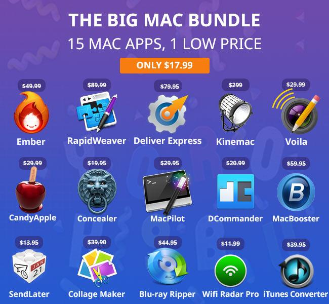 The Big Mac Bundle: 15 Mac Apps for $17.99 FT. Ember, RapidWeaver, Kinemac + 12 Top Rated apps http://t.co/zTokFJRl8r http://t.co/E0A24XlyCC