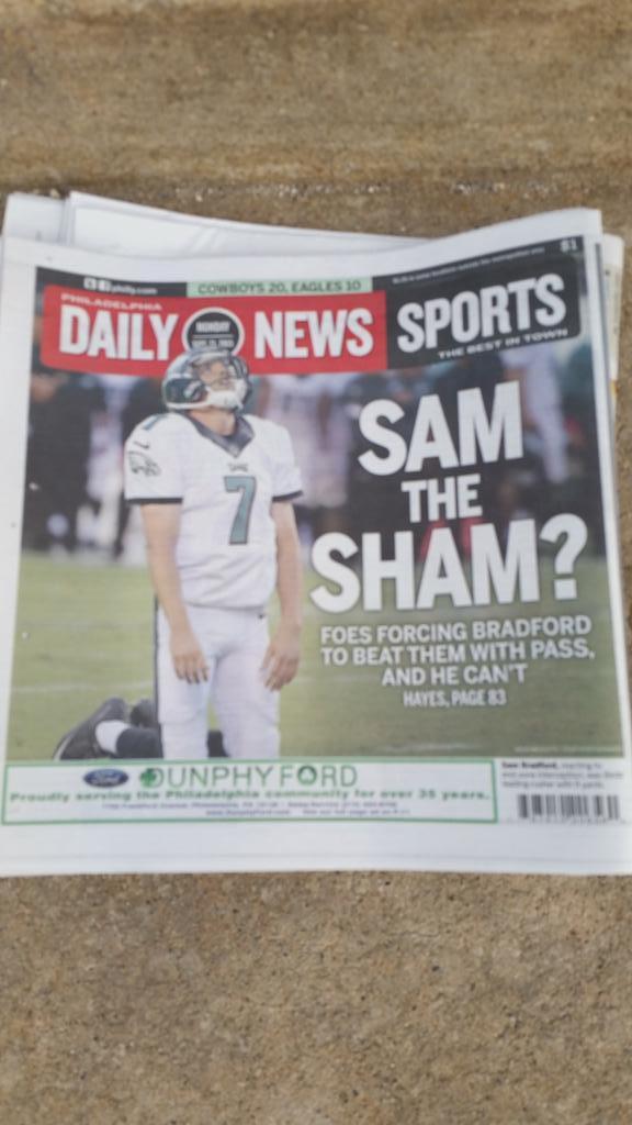 Today's cover of the Philadelphia Daily News. http://t.co/mL7m2s3kOA
