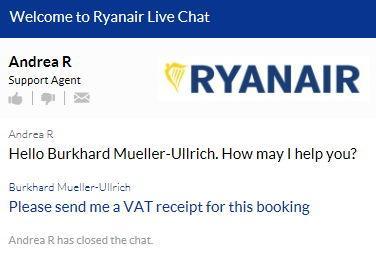 ryan air live chat