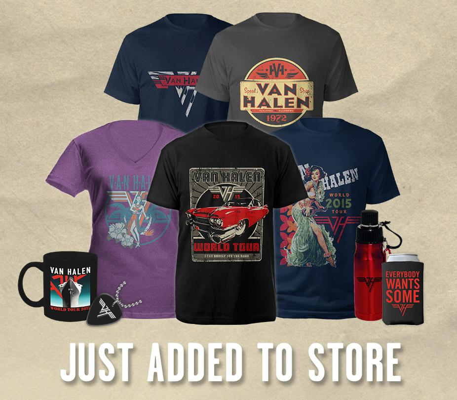 New Van Halen tour merch is now available in the official online store! Get yours here: http://t.co/S5yjXZdmPm http://t.co/CiEeghOdTB