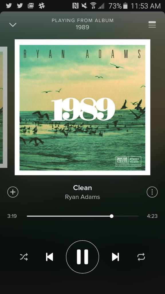 "If you've ever doubted @TaylorSwift13's songwriting prowess, listen to #RyanAdams1989, particularly ""Clean."" Perfect. http://t.co/kn9KJdMQLe"