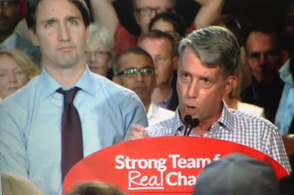 Liberal candidate Andrew Leslie, retired general, says #Harper has engaged in 'decade of deceit' on military affairs.