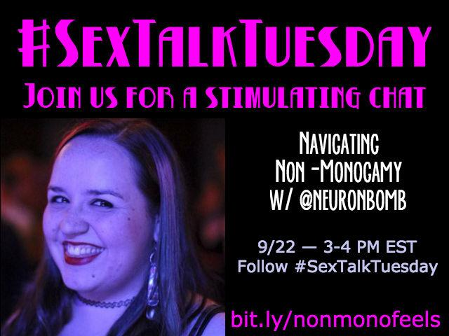 Mark your calendars! On September 22 @neuronbomb will guest moderate #SexTalkTuesday! Get ready! http://t.co/T9A2h1kzbW