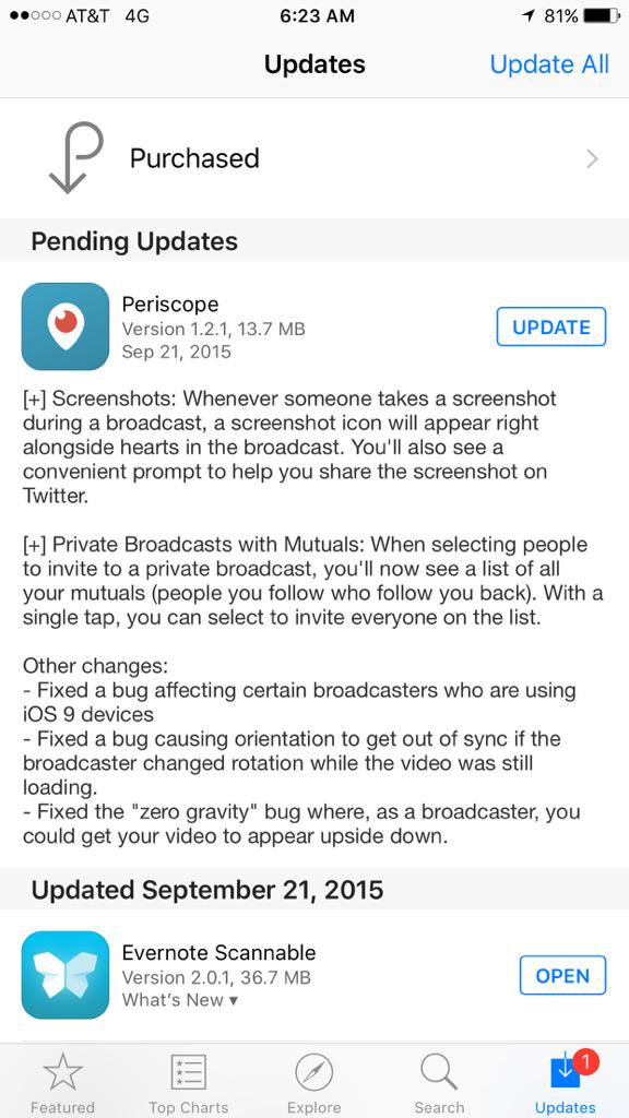 GOOD MORNING LIVE STREAMERS... #Periscope update is live for iOS... Fixes iOS9 issue & cool screenshot feature! http://t.co/l0htzU1f4e