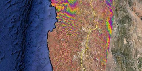 Spostamento del terreno cileno dopo il terremoto.
