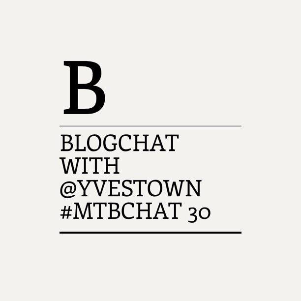 Blogchat #MTBchat with blogger @yvestown starts now! Join us and ask questions! http://t.co/8tenenQLSt