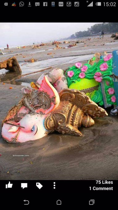 Aftermath of ganpati visarjan...hope the lord forgives us... http://t.co/2Pm5pZBCvq