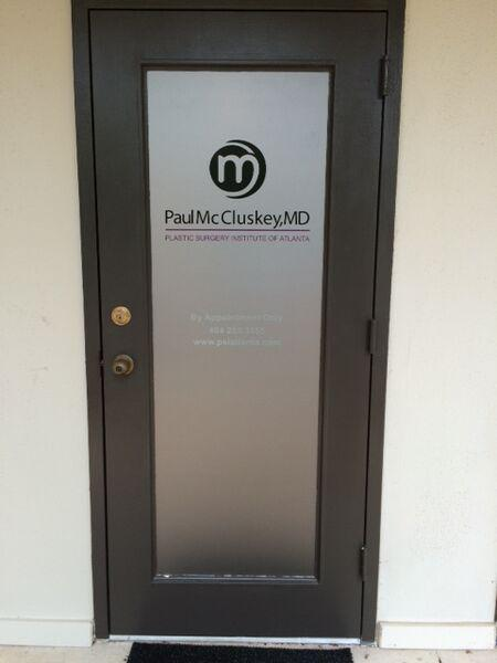 Meridian signs on twitter dr paul mccluskey 39 s office adds elegance to their entrance with a - Glass office door signs ...