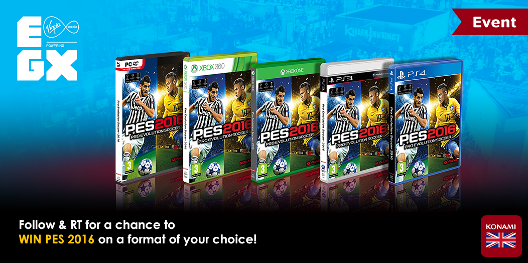 We're at @EGX this week, and we're celebrating with a #PES2016 giveaway! Follow & RT for a chance to #WIN! http://t.co/yKh4rhXKCf