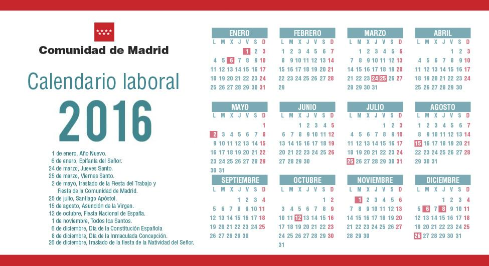 Calendario Laboral Comunidad De Madrid.Comunidad De Madrid On Twitter Ya Se Ha Aprobado El Calendario