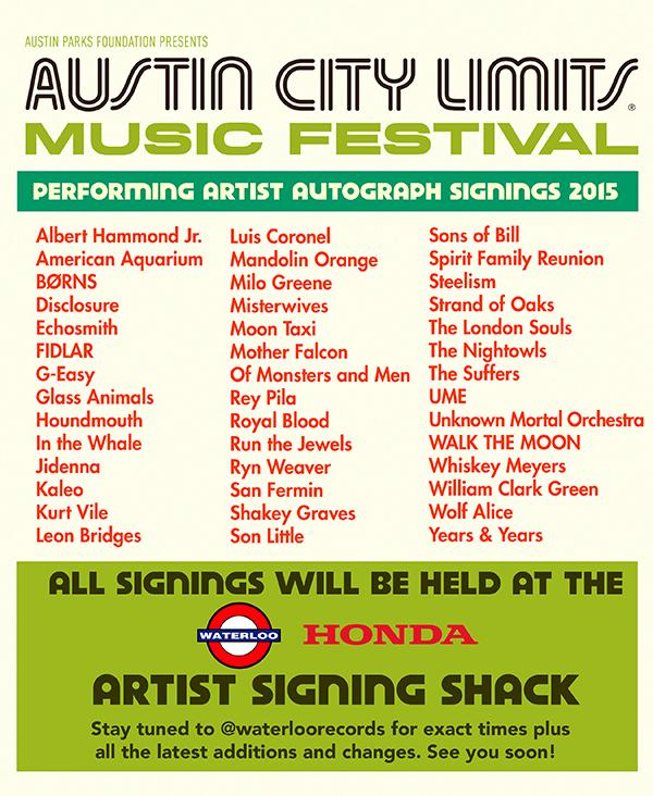 Here's who'll be signing with us at @aclfestival Stay tuned for exact times, changes and additions! #ACLFest http://t.co/yr7v0Y9wh4