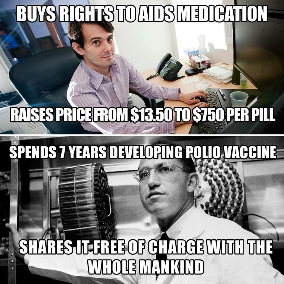 Greedy hedge fund manager vs. Jonas Salk.... http://t.co/dYfEpebfD8