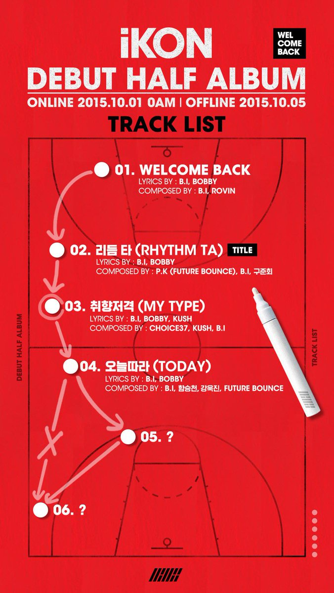 [iKON - DEBUT HALF ALBUM 'WELCOME BACK' TRACK LIST #3, 4] originally posted by http://t.co/XZQ3IOI9MY #iKON #TODAY