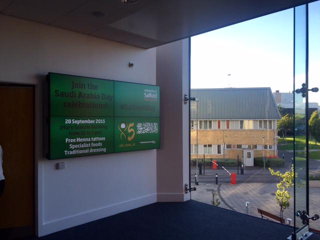 The screen in MarySeacole turned green today J-I-T 4 #SalSaudiDay @UoSHealth_Care @SalfordUni http://t.co/MCxgk27ZOk http://t.co/VMEvQQ1VIl