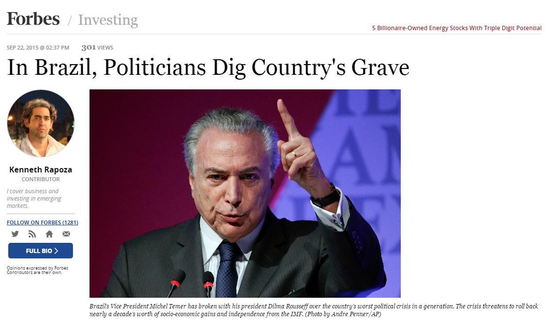 'Forbes': Políticos brasileiros cavam a sepultura do país http://t.co/dlz8LV11SU #Política #crise