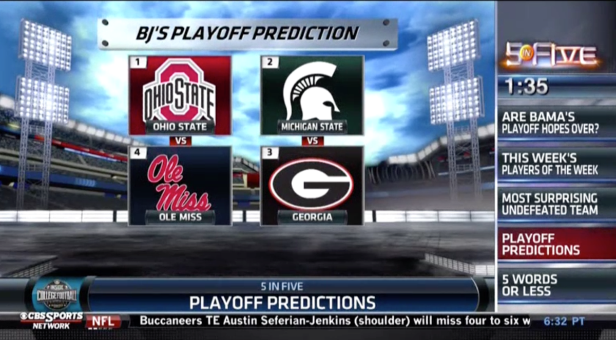 who is going to the playoffs cbs college football