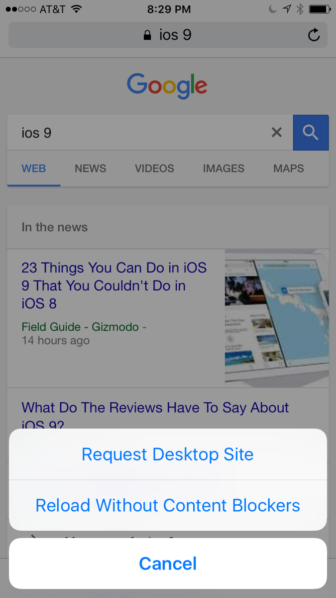 Press and hold the refresh button in Safari on iOS 9 for some handy options http://t.co/iPxnl4JV0g