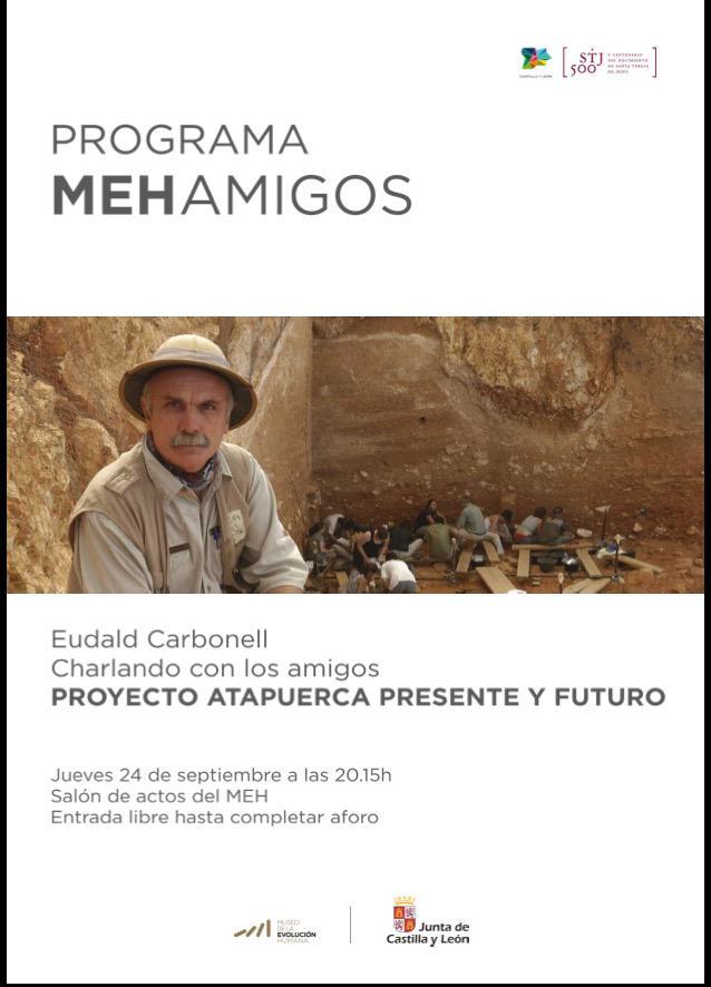 @eudaldcarbonell este jueves en el @museoevolucion a las 20:15 en el salón de actos #MEH #Atapuerca
