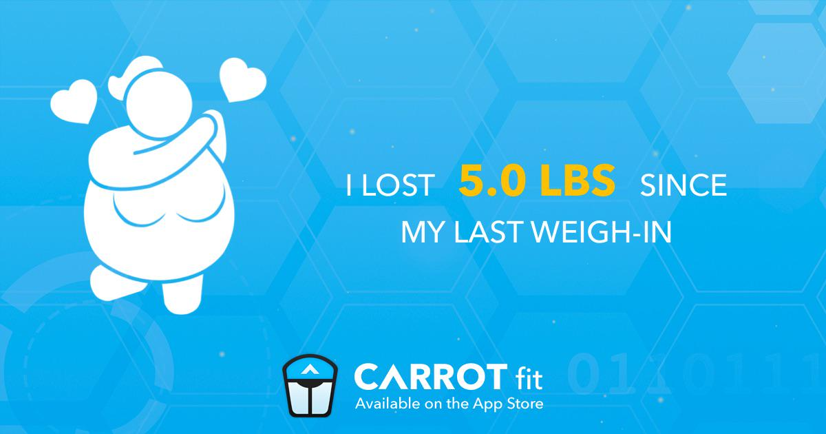 My sentient weight tracker just told me I lost 5.0 lbs!