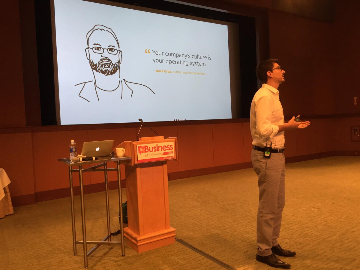 """Your company's culture is your operating system"" So true! Nice @davegray shout out at #bos2015 from @AlexOsterwalder http://t.co/00CuvYzk4C"