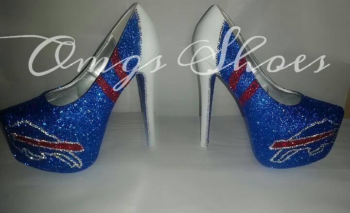 Custom Buffalo Bills Glitter Heels by OMGSCUSTOMSHOES on