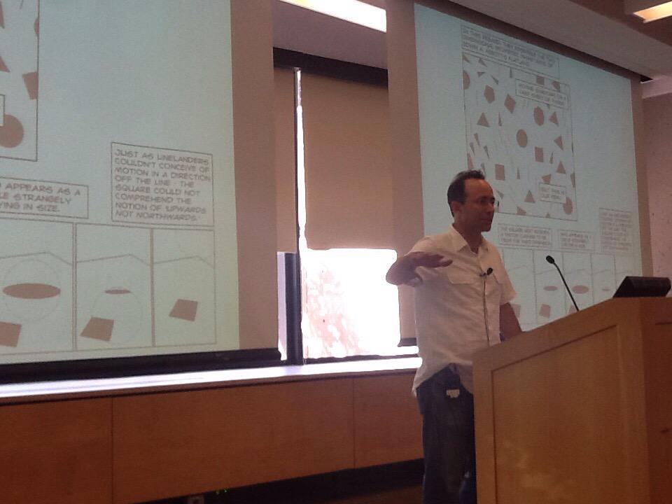 """@nsousanis explains his """"flattening"""" metaphor, inspired by FLATLAND, as the crisis in education. #unflatharvard http://t.co/mKe0ipXbr6"""