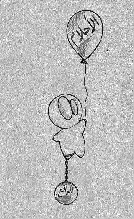「↑夢 ↓現実」 الأحلام، الواقع [al-'aHlaam, al-waaqi*] 「落ちている/現実」ワーケア ( واقع )[waaqi*]:「落ちた/陥った/起きた」( وقع )[waqa*a]   夢(ゆめ)・現実(ゲンジツ) 1811 #イラスト #風船