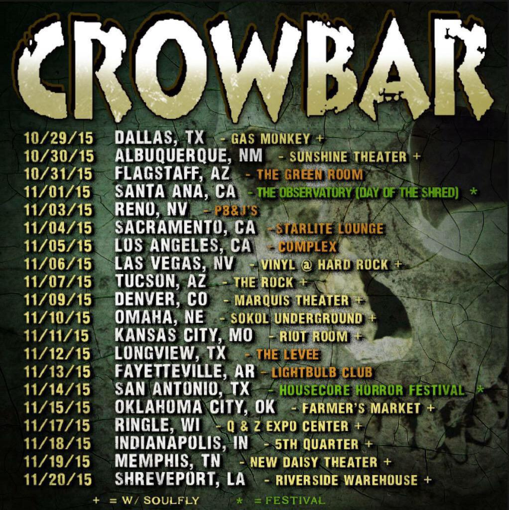 Please RT @crowbarrules tour dates w/ @TheSoulflyTribe & more announced! http://t.co/yjqqATM2uL