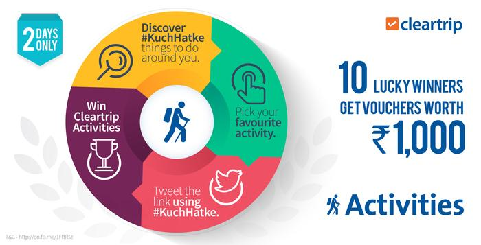 Use #KuchHatke, share your favourite activity from http://t.co/sITxS6EJte & RT this. Win Activities worth Rs. 10,000 http://t.co/Or6bAY44cD