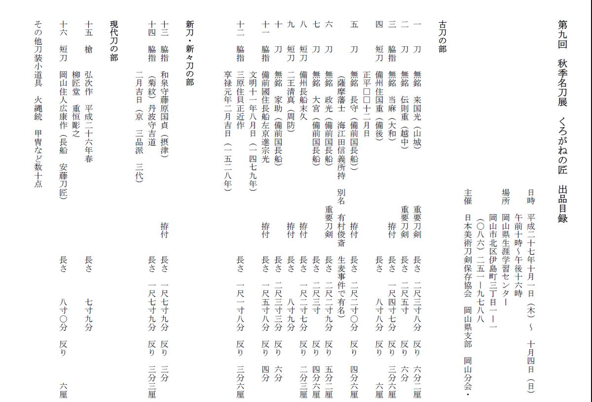 "Saburahi_Ism Twitterren: ""第九回秋季名刀展「くろがねの匠」 今年も ..."
