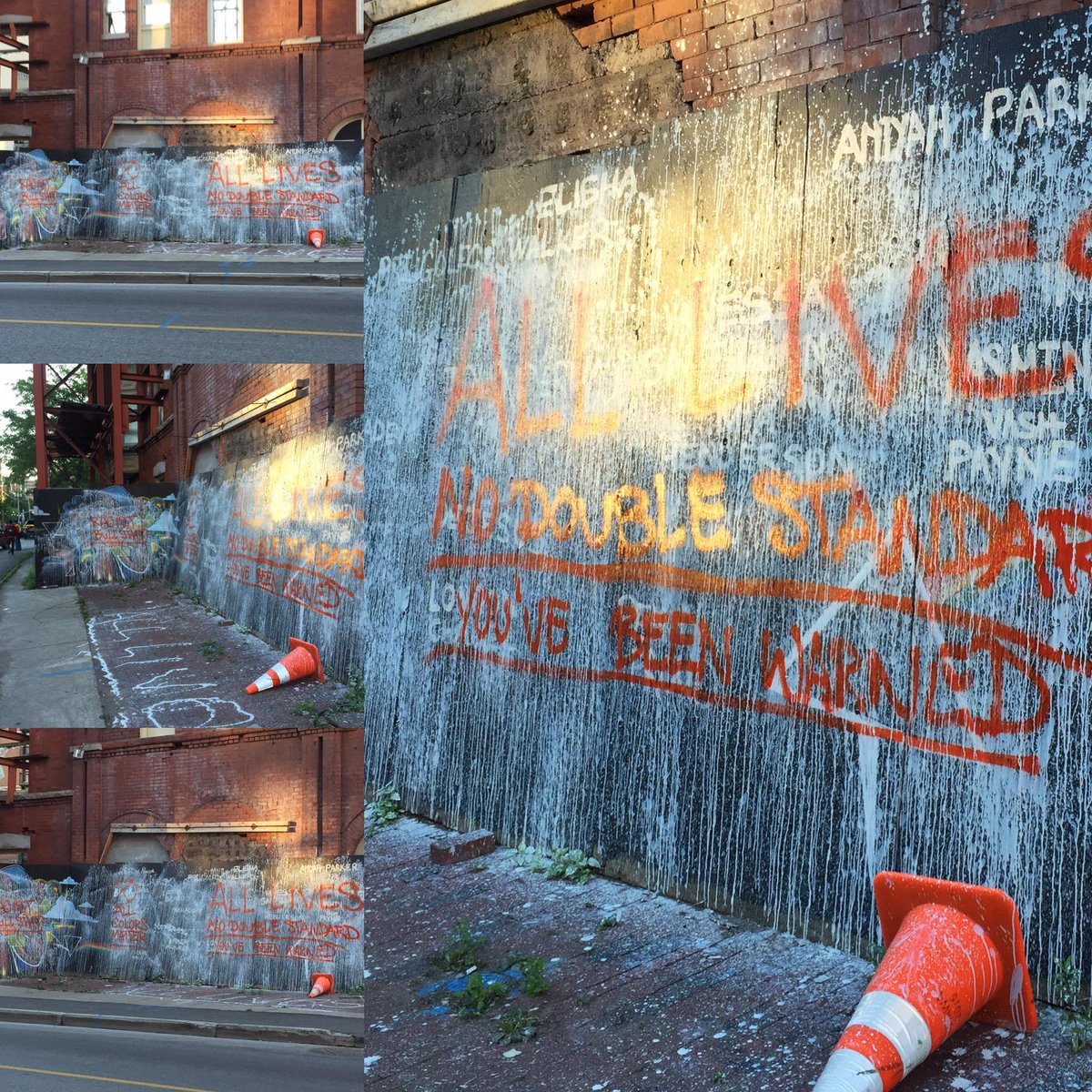 "Celebrated Black Trans Lives Matter mural on Bank St destroyed. ""You've been warned"" scrawled violently. #notmyottawa http://t.co/p83XaeuHlW"
