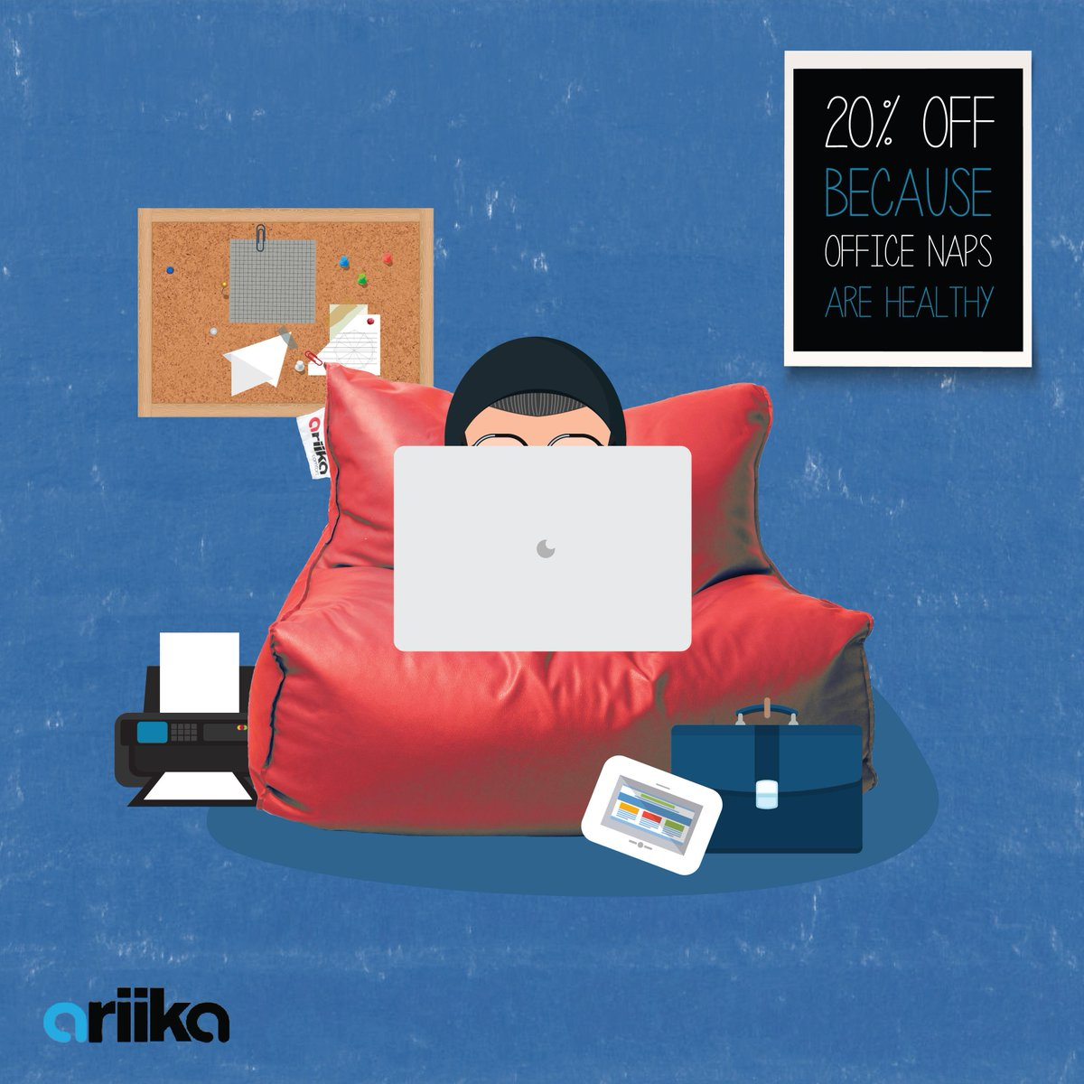 Napping in the office is  genius. Get back into work mode with our 20% discount on everything ariika. http://t.co/3I4h4tyuV1