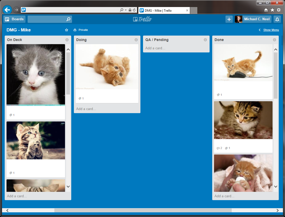 Spent time managing the backlog this morning, by which I mean making sure all Trello tasks had an appropriate kitten http://t.co/GZFfNc3lf6