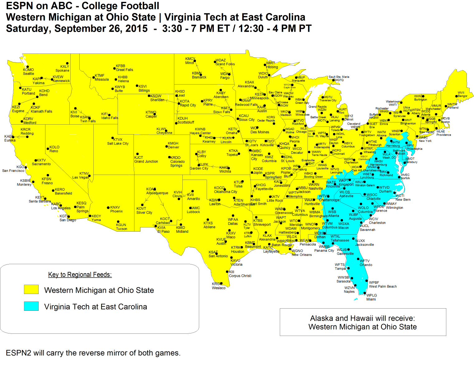 COLLEGE FOOTBALL WEEK 4 TV SCHEDULE - with OSU COVERAGE MAP