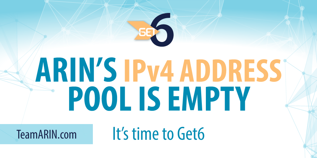 It's official. ARIN's #IPv4 address pool reaches ZERO #get6 http://t.co/ef3Yq6cQDG