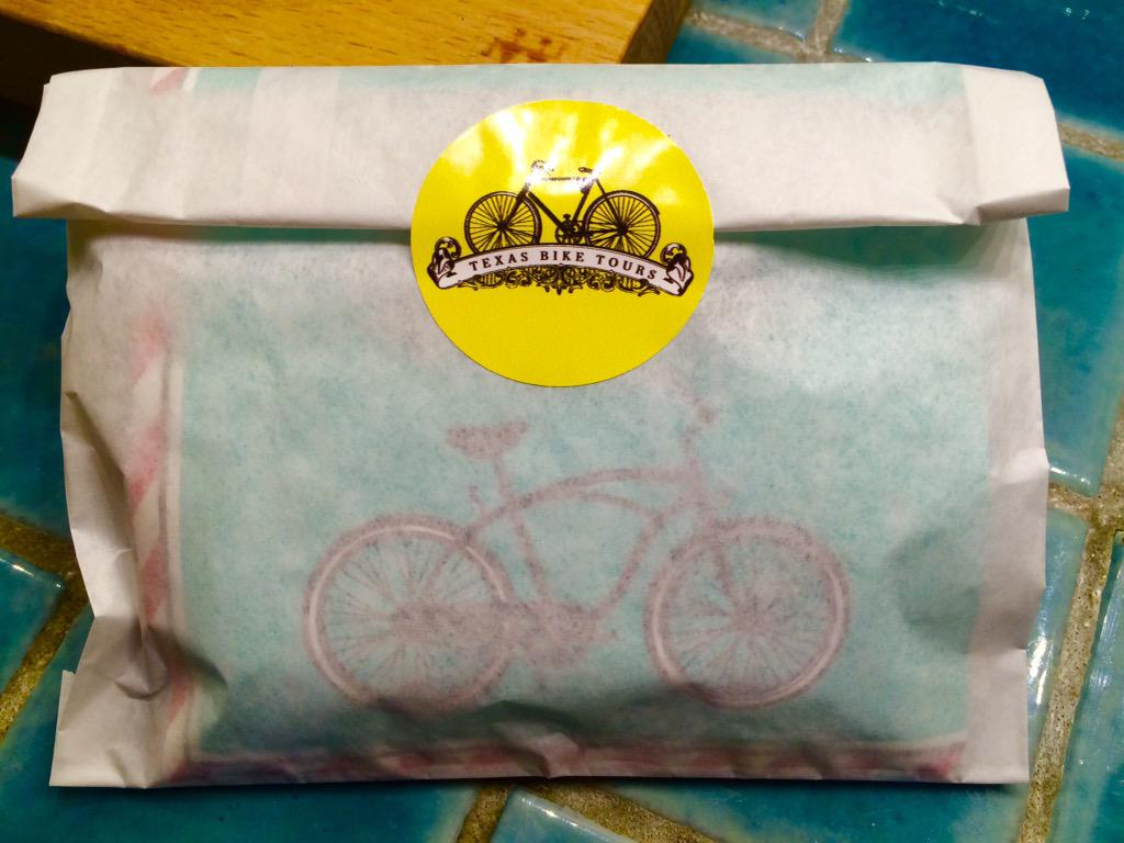 Guests receive handmade granola bars.  Need bike napkins-local purchase. See any we may purchase? http://t.co/WAx3iZzcPR