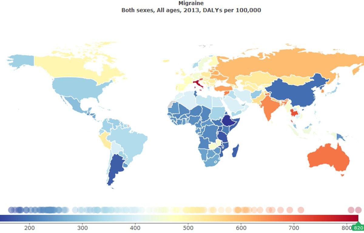 Australia India Map.Robert Shapiro On Twitter Map Of Global Migraine Burden Per 100k