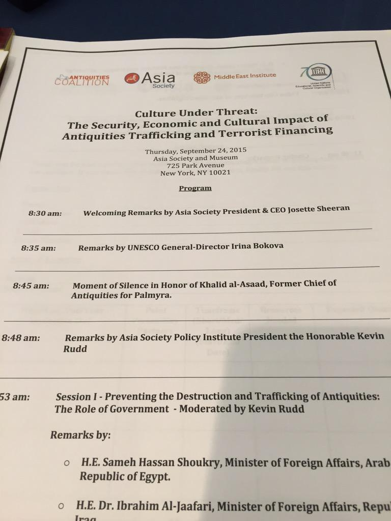 Terrific and timely meeting at @AsiaSociety today. Glad to participate. #cultureunderthreat http://t.co/2yXsQbaR3D