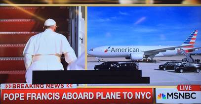 Whoo hoo! RT @jzuckman: The Pope takes flight on @AmericanAir  #ShepherdOne #OpenSkies http://t.co/KPIn4dR2ae