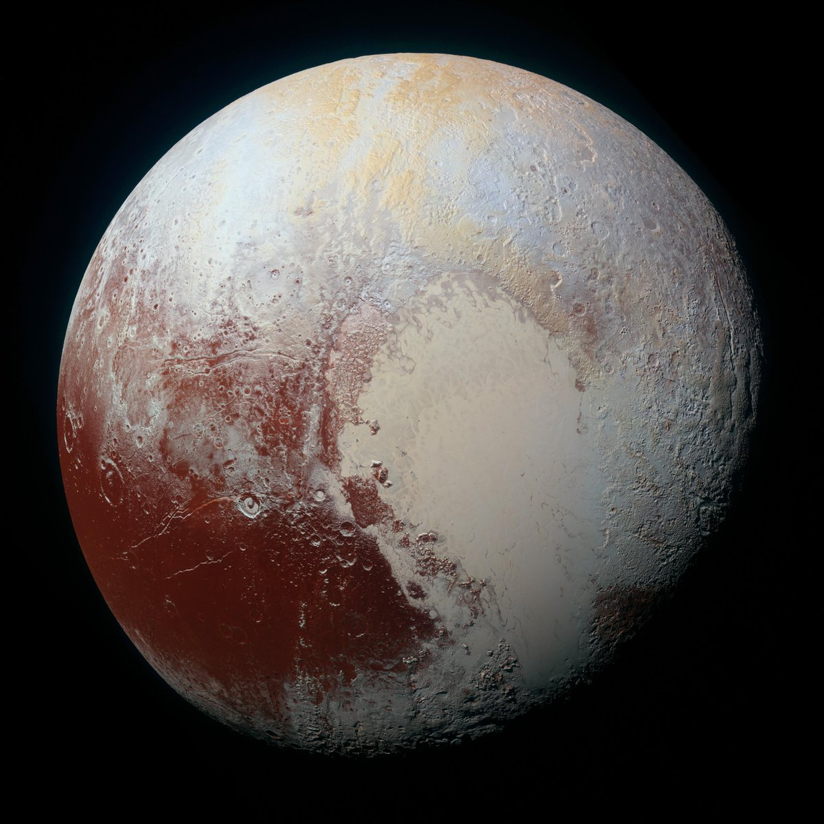 Oh. My. The newest high-resolution image of Pluto is breathtaking. http://t.co/MBhR8p8hMr http://t.co/ZQZmtbuImZ