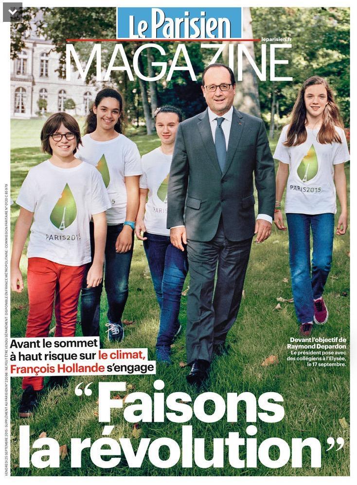 Et ce n'est que le début de l'opération de com nommée #COP21… #Hollande #LeParisienMag pic.twitter.com/WQHBL4Gzw7