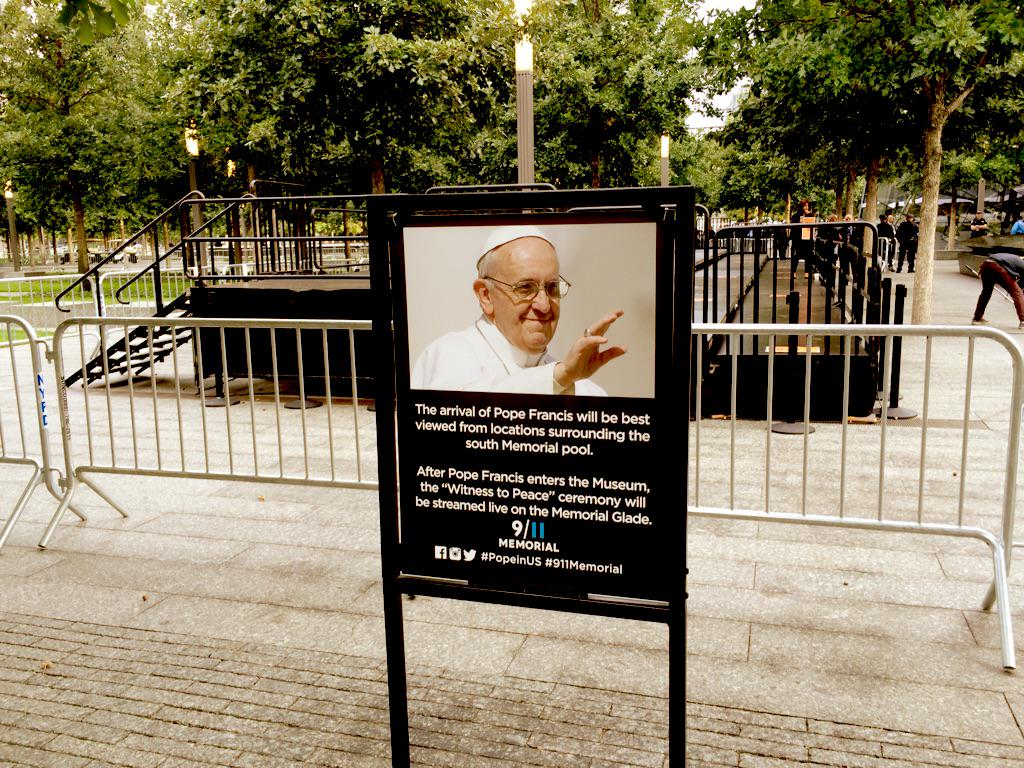 9/11 Memorial prepares for the pope. #popeinUs http://t.co/uMQkw8TX8a