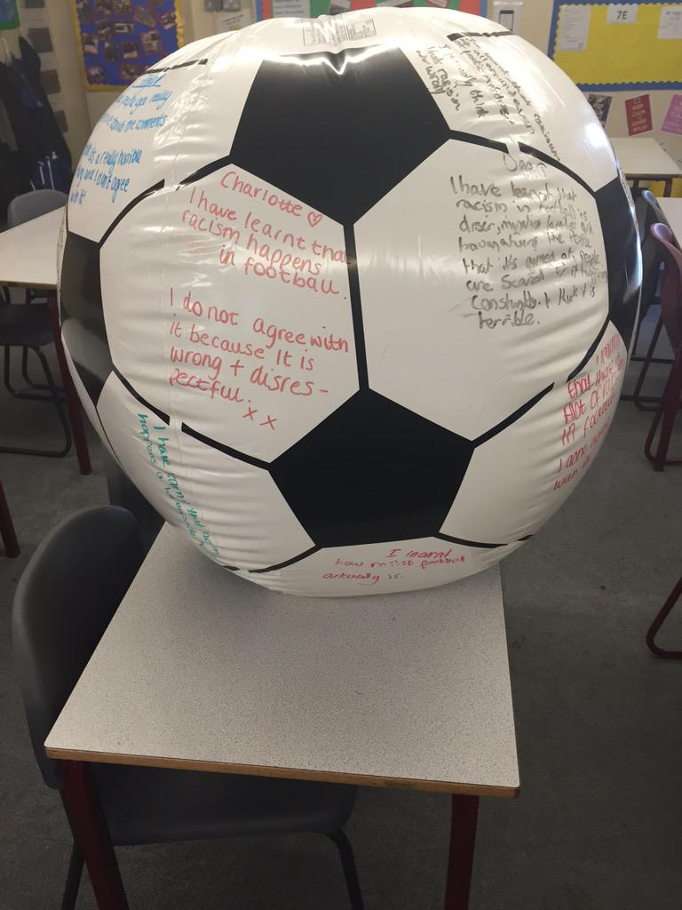 Students sharing views on racism in football on huge football via @87History   #ukedchat #aussieed #sunchat http://t.co/aRWfIIEsRx