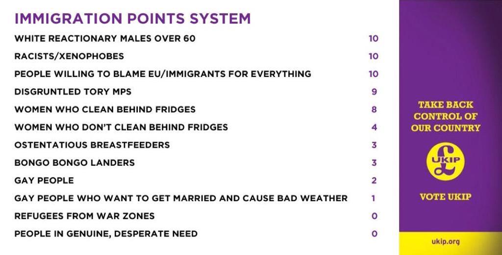 Details of UKIP's proposed immigration points system. #UKIP15 http://t.co/vxKfYrbjpL
