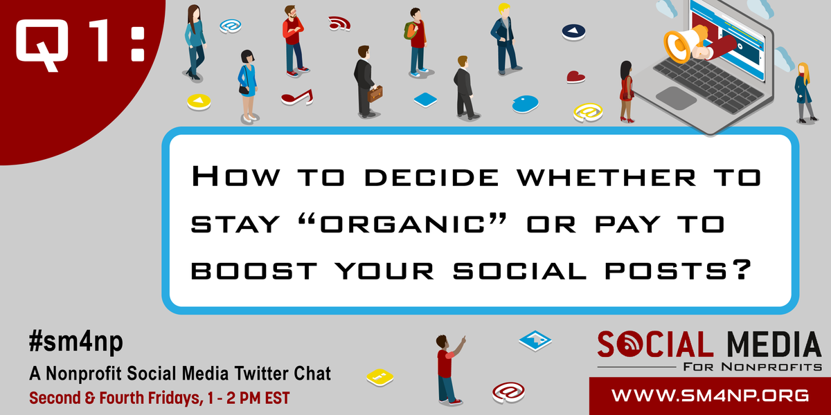 "Let's get started! Q1: How to decide whether to stay ""organic"" or pay to boost your social posts? #sm4np http://t.co/wKYbKlnk6r"