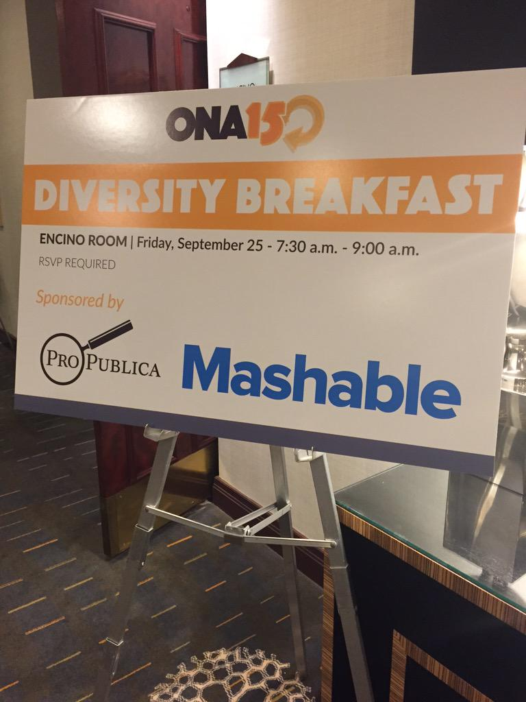 Good morning #ONA15! Excited and looking forward to @mashable and @ProPublica's Diversity Mentorship Program. http://t.co/YfaAQeVVPc