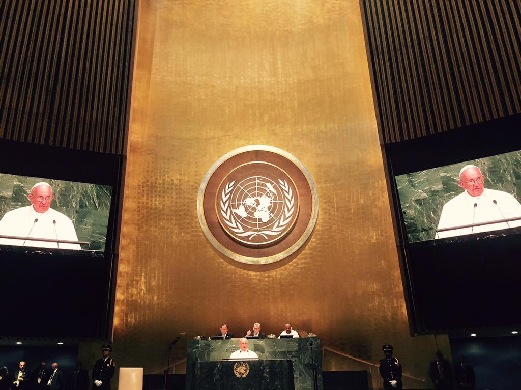 Important address by@pontifex @UNGA. Now adoption of global sustainable development goals! http://t.co/Rwt8e3OPfW